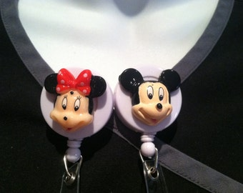 Disney© Minnie & Mickey Mouse™~ ID Holder Customized ~ Retractable Badge Reel ~ Slide Belt Clip ~ Alligator Clip~ Nurses Teachers Doctors