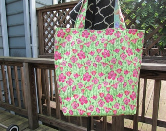 Large Flower/Butterfly Reversible Tote Bag