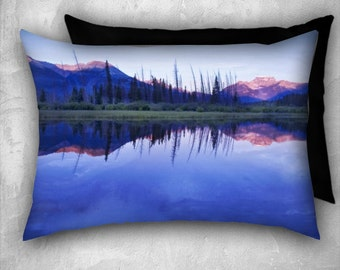 Mountain Reflection, on pillow case, purple, reflection, Banff, soft, nature, home decor,