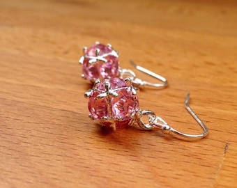 Silver and light pink crystal ball earrings