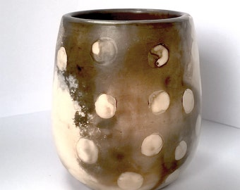 Dotted stoneware wood fired pot