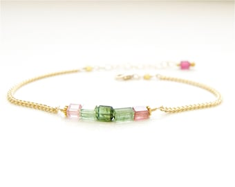 Tourmaline Gemstone Bracelet Handcrafted by Bare and Me/ Dainty Layering Tourmaline Bracelet/ Dainty Everyday Bracelets by Bare and Me, Gift