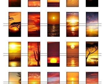 Sunsets - 1 x 2 inch domino images, graphics for scrapbooking, stickers, Digital Printable Images File 8,5x11, BUY 2 get 1 FREE