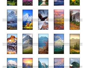 Mountain landscapes - 1 x 2 inch domino images, graphics for scrapbooking, stickers, Digital Printable Images File 8,5x11, BUY 2 get 1 FREE