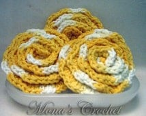 Hand Crocheted Cotton Variegated Yellow and White Face Scrubbies | Facial Scrubbers | Facial Pads | Makeup Remover Pads - Set of 3