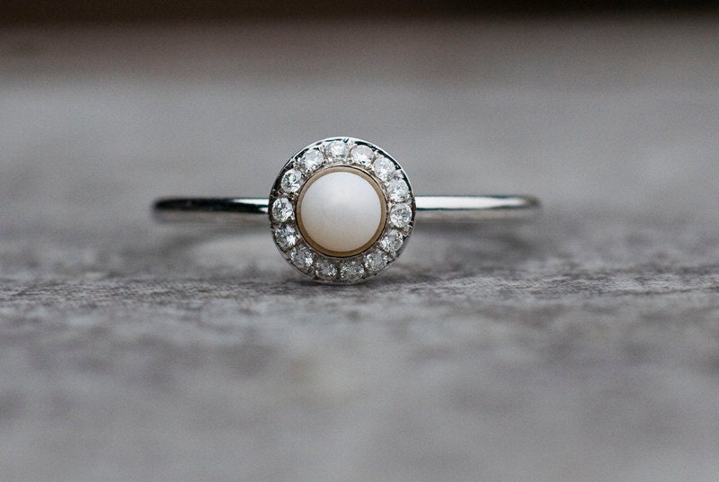 Pearl And Diamonds Wedding Ring Halo Engagement Ring Pearl