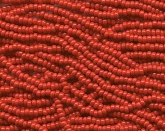 11/0 Czech  Red Seed Beads 6 Strings Aprox 18 grams