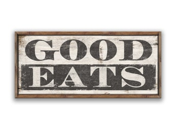"Good eats sign dining room signs kitchen signs restaurant signs custom signs kitchen decor cafe sign cafe decor 30""x14""x2"" eat wooden signs"