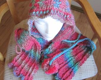 Crochet Scarf,Hooded Scarf,Boho Scarf,Parrot,Scarf,Fashionable Scarf,Romantic Scarf,RedHeart UnforgetableWomens Fashion,Winter Scarf,Pom Pom