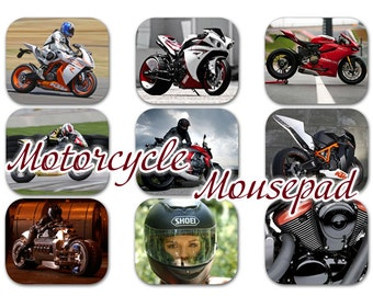 Motorcycle Sport Bike Mouse Pad / Mousepad / Mat / Custom Made Personalized Square Add Your Own Text / Design: SBMP-02