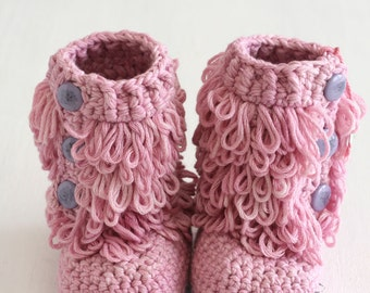 Handmade crochet Furrylicious Baby Boots, crochet baby boots, baby shower gift, cotton baby boots, baby shoes, MADE TO ORDER
