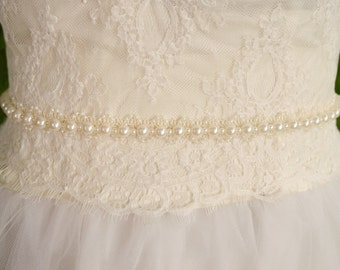 Pearl Wedding Sash, Ivory Wedding Sash, Pearl Sash, Pearl Belt, Bridal Sash, Unique Sash- FIONA