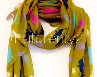 Cats Olive Green Summer Scarf / Spring Scarf / Gift For Her / Womens Scarves / Fashion Accessories