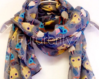 Adorable Grey Owl Spring Scarf / Summer Scarf / Gift For Her / Womens Scarves / Fashion Accessories