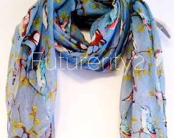 Birds Grey/Blue Spring Scarf / Summer Scarf / Gift For Her / Womens Scarves / Gift Ideas / Fashion Accessories