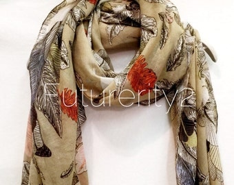 Feathers Spring Summer / Autumn Beige Scarf / Gift For Her / Womens Scarves / Fashion Accessories