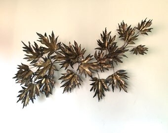 Vintage Mid Century Modern Brass Brutalist Leaf Wall Sculpture Curtis Jere Style