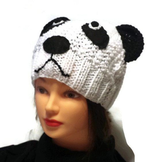 Knit Panda Hat Women Animal Cap Adult or Teen Size Beanie