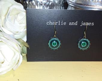 Dark Green Mandala Drop Earrings