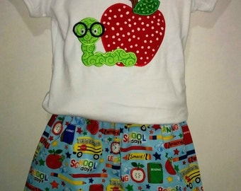 Girls Back To School Boutique Short Set Outfit! Nerdy Worm & Apple Embroidered Applique Shirt Optional Bow Available! 3 4 5 6 7 8 First Day!