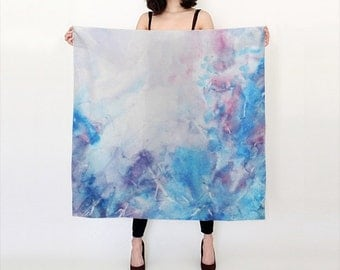 Watercolor Silk Scarf, Original Abstract Watercolor, Blue and Purple