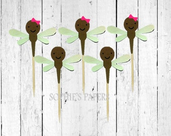 12 Dragonfly Toppers / Picks, Dragonfly Cupcake Toppers, Dragonfly Birthday Party, Bugs and Insects Party Theme, Bugs and Insect Shower