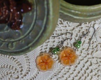 Desert Orange California Poppy EARRINGS, with green facet or green pearl accent, silver tone