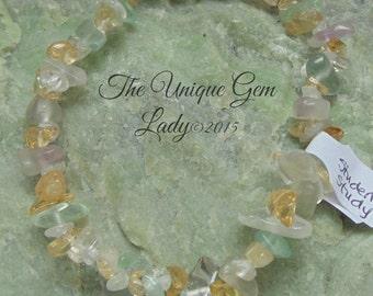 Student / Study Blend Stretch Bracelet ~ Gemstone Crystal Healing ~  Handmade ~ Citrine Clear Quartz & Rainbow Fluorite
