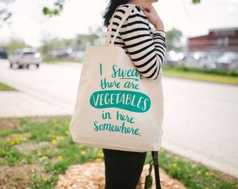 Vegetables Tote Bag - Canvas Tote Bag - Funny Tote Bag - Screen Printed Tote Bag