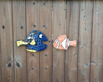 Blue Fish and Orange Clown Fish, tile mosaic, finding dory, fence decor, yard art