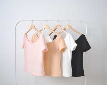 Silk Scalloped Neckline Blouse Shirt Top Pastel Peach