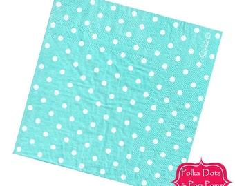 20 AQUA Paper Napkins / Serviettes / 3ply / Small Polka Dot / Retro Kids Party Supplies / Wedding / Baby Shower