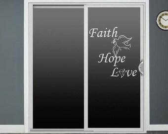 Faith Hope Love Glass Door Decals Sliding Door Decal Door Stickers Window Decals