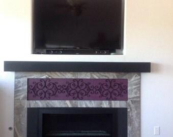 "Floating TV Mantel Shelf .Floating wall shelf .Fireplace mantel. TV Shelf.Modern Mantle / Shelf.60"" Long x 4"" Tall x 11"" Deep"