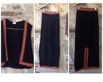 Embroidered Ribbon Vest Mexican Style+ Skirt + Pant set
