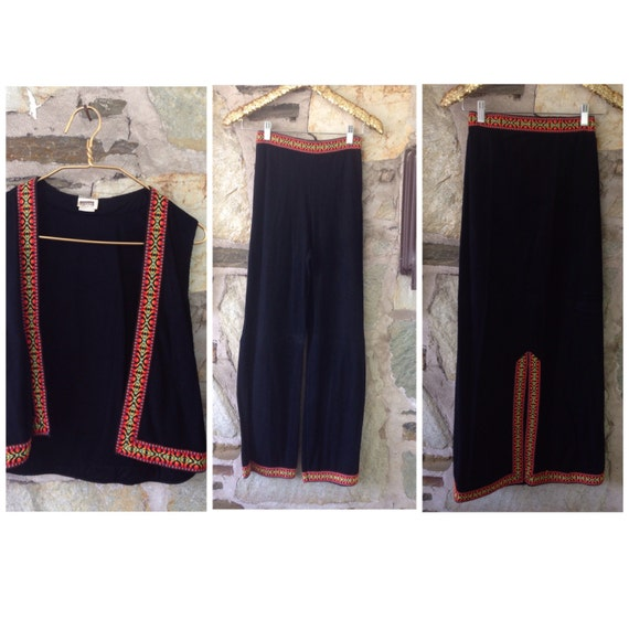 Embroidered ribbon vest mexican style skirt pant set