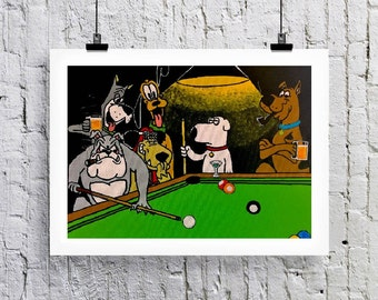 Dogs playing pool  Greetings card/Art print