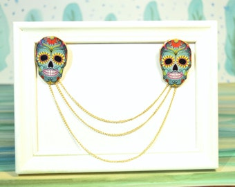 Mexican blouse , Mexican brooch , collar pins ,