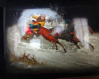 Russian Painted Lacquer Box Featuring a Winter Scene From The Twelve Months
