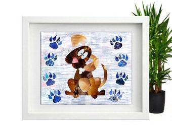 Boy Nursery wall art, Puppy Nursery, Boy Nursery decor, Puppy art print, Childrens art, Boys room decor, mixed media