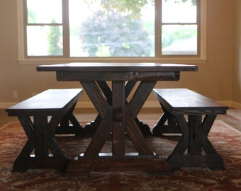 Rustic Harvest Table With Trestle And Benches