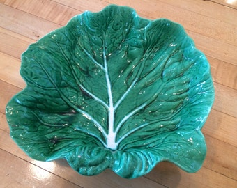 """Vintage LARGE CABBAGE MAJOLICA 11.5"""" Green Leaf Serving Bowl, Serving Dish"""