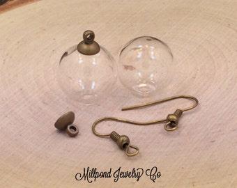 Glass Globe Earrings, Glass Orb Earrings, Terrarium Earrings, Bubble Earrings, Apothecary Bottle Earrings, Antique Bronze, PB2002