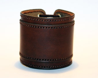 Brown Leather Cuff Bracelet! Nice gift! Handmade Leather Accessories! Unique item! Best gift! Handmade leather cuff! Best quality!