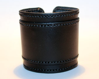 Black Leather Cuff Bracelet! Nice Gift For Women! Nice Gift For Men! Great Handmade Leather Bracelet! Handmade Leather Accessories!