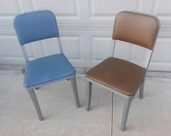 Pair of steelcase mid century industrial metal chairs desk office madmen