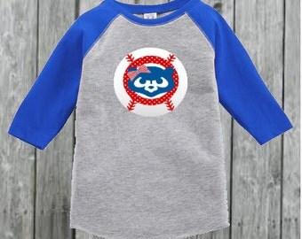 Cubs Inspired Baseball Tee for Toddler Girl
