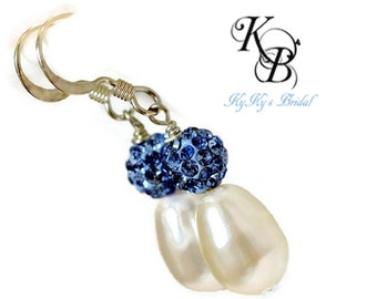 Something Blue Earrings, Sapphire Blue Earrings, Wedding Jewelry, Bridal Jewelry, Bridal Earrings, Blue Earrings, Pearl Earring