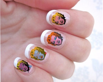 Marilyn Monroe Andy Warhol Tribute Transparent Waterslide Nail Decals