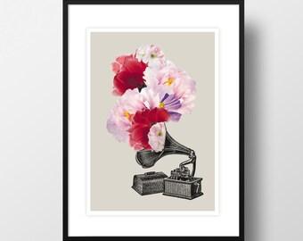 """Artprint """"Flower gramophone"""""""